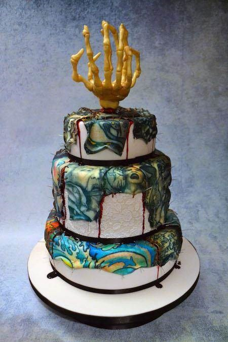 Horror inspired tattooed wedding cake from Conjurer's Kitchen