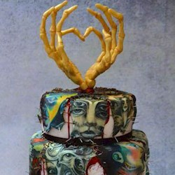 Horror Inspired Tattooed Wedding Cake