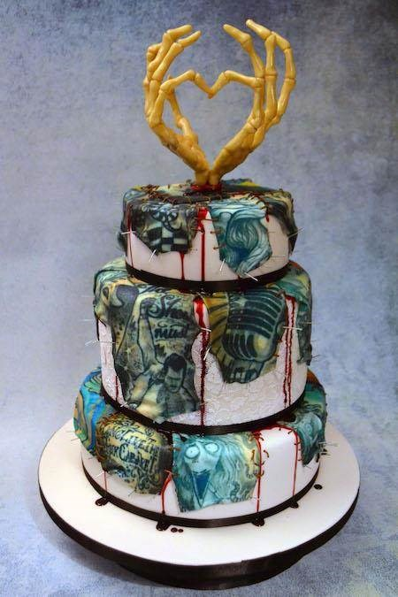 Tattoo covered wedding cake by Conjurer's Kitchen