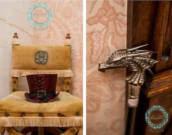 Top hat and dragon's head cane, Gothic wedding accessories.