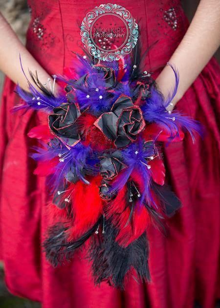 Black, purple and red alternative bridal bouquet.