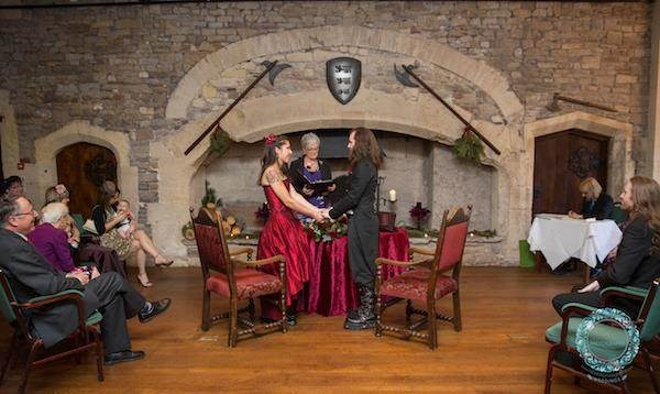 Gothic wedding ceremony at Thornbury Castle.