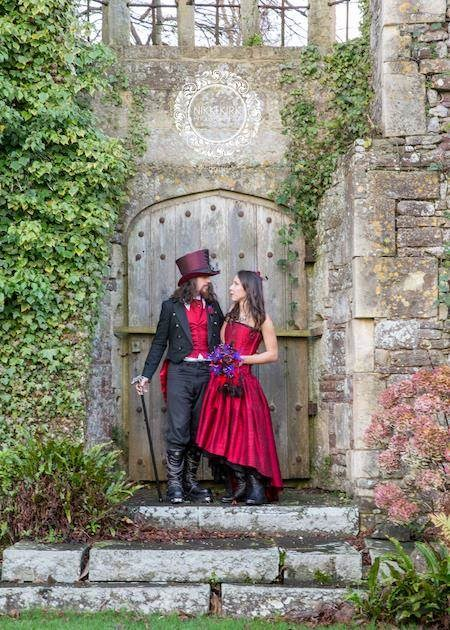 Gothic bride and groom who got married at Thornbury castle.