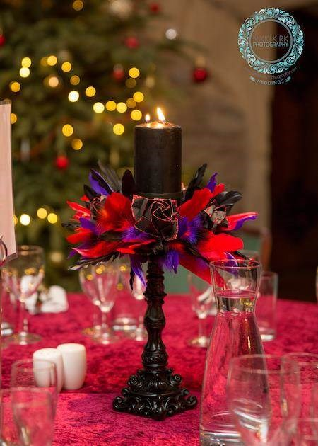 Black Gothic candle wedding table centrepiece.