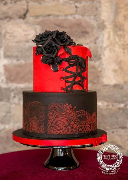 Red and black Gothic wedding cake.
