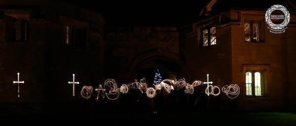 Wedding photography by Nikki Kirk. Night time sparklers at Thornbury Castle.