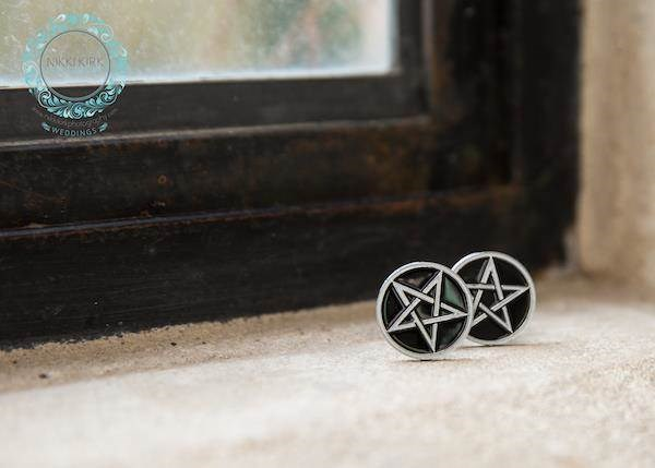 Pentagram cufflinks for a Gothic groom.