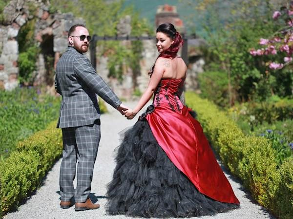 Stunning red and black bridal dress