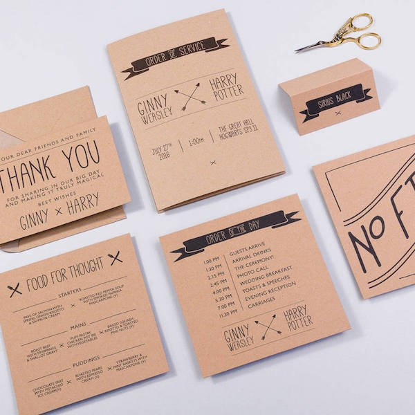 Harry Potter wedding stationery