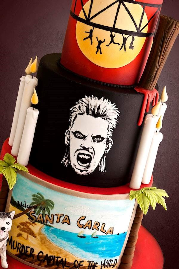 Close up of Lost Boys wedding cake by Black Cherry Cake Company