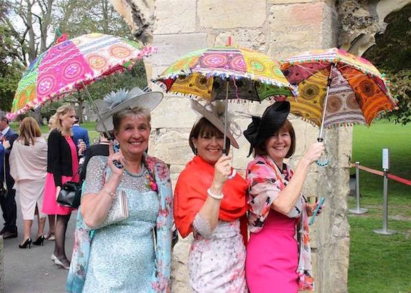 Wedding guests showing off their umbrellas!