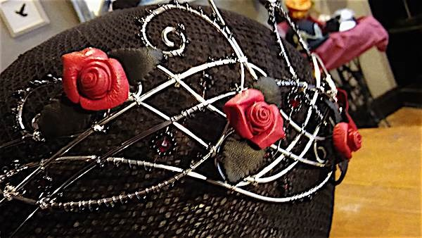 Headpiece from Grin, Grimace & Squeak, with roses from Mr Charles The Leathersmith