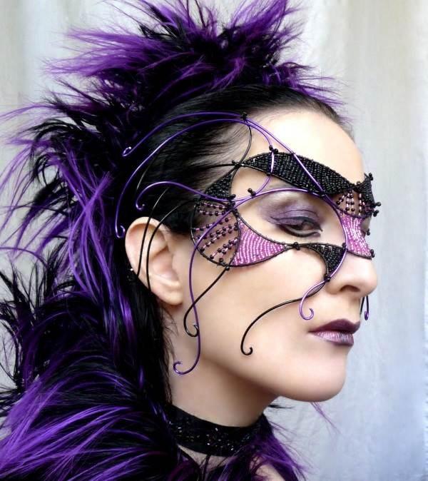 Purple Cyber Goth Masquerade Mask