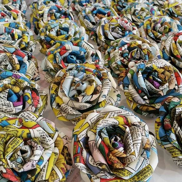 Roses made from comic book pages