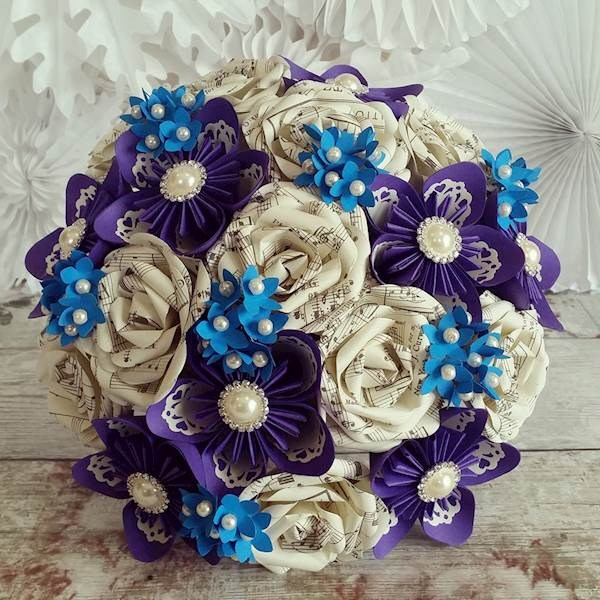 Paper wedding bouquet made with sheet music