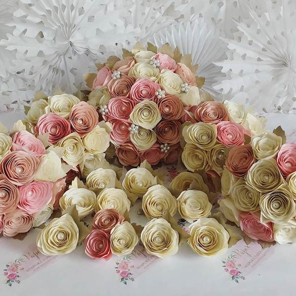 Pink, peach and ivory paper wedding flowers
