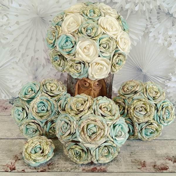 Vintage maps bridal bouquet