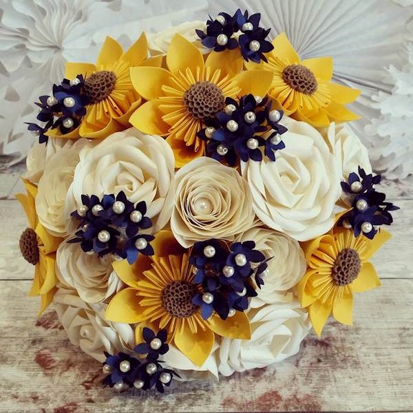 Paper bouquet with sunflowers