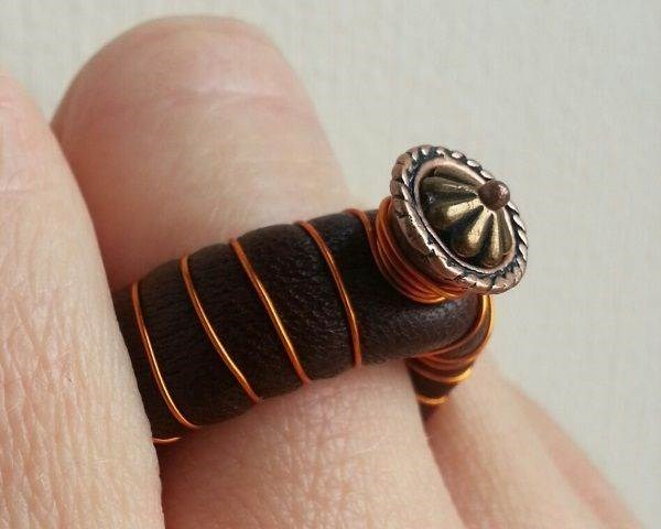Leather & Copper Ring