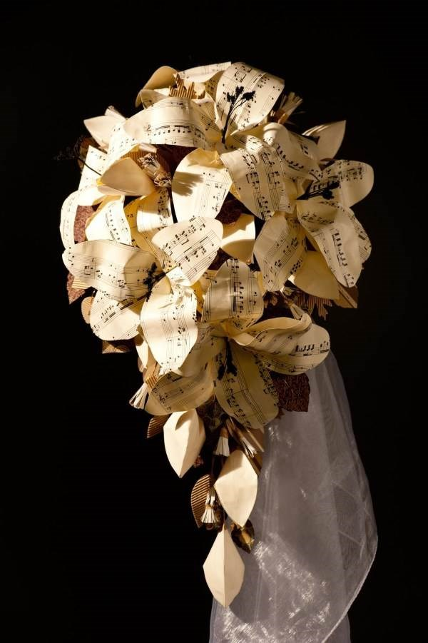 Sheet music, paper lily bridal bouquet. (H2 Photography)