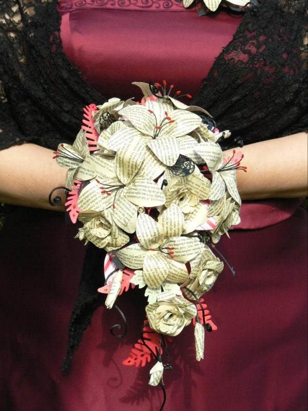Gothic 'Bride Of Dracula' book pages bridal bouquet