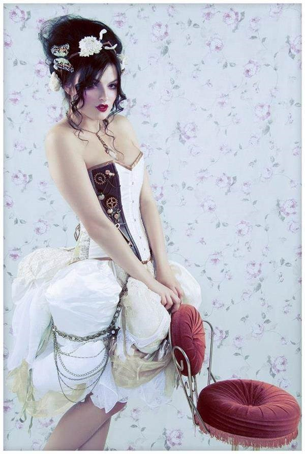 Steampunk Victorian corset wedding dress.