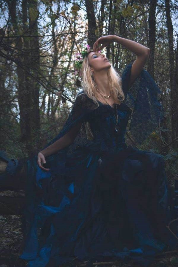 Gothic blue bridal gown.