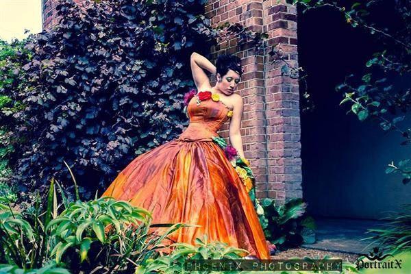 Orange woodland hippy bohemian corset wedding dress.