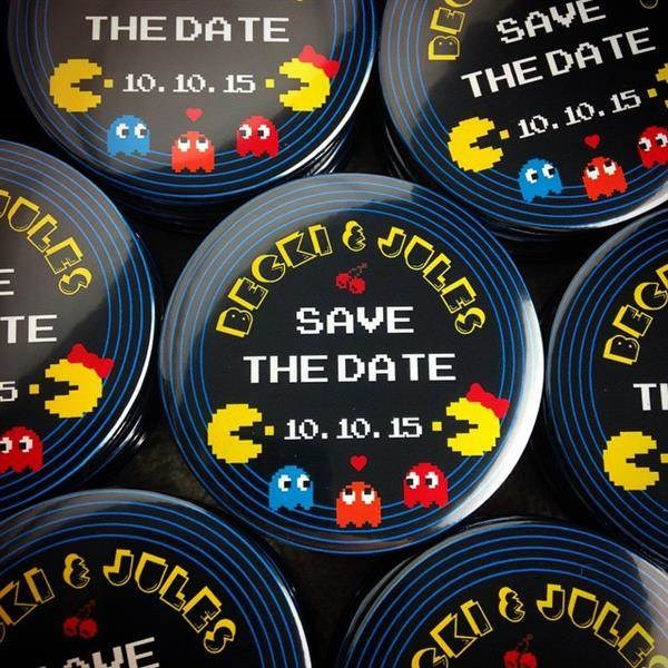 Pacman retro gamer Save The Date magnets.