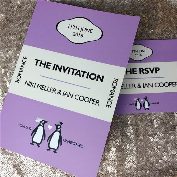 Penguin Classics book themed wedding invitations.