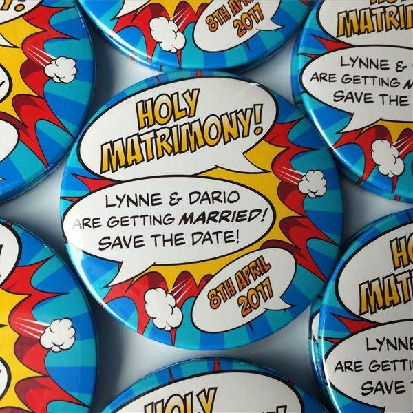 Comic book themes Save The Date magnets.