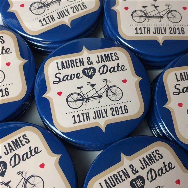 Retro tandem bicycle Save The Date magnets