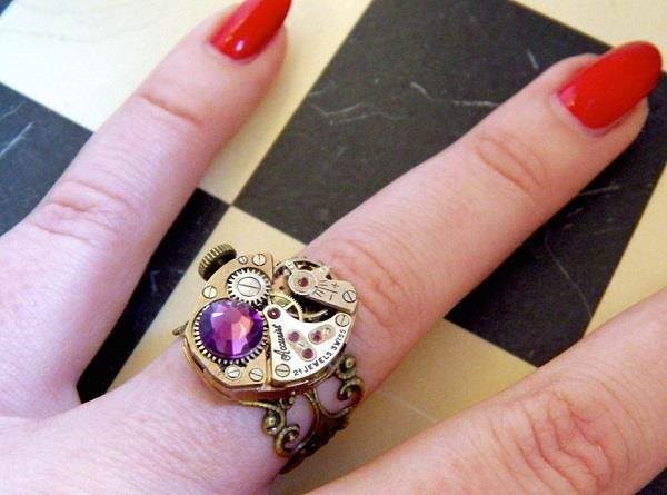 One Of A Kind Accurist Watch Mechanism Ring With Amethyst Crystal