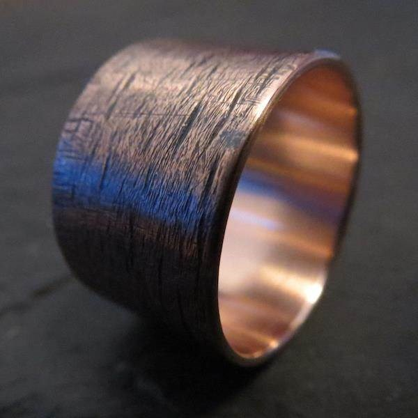 Unique Copper wedding ring with an unusual textured finish