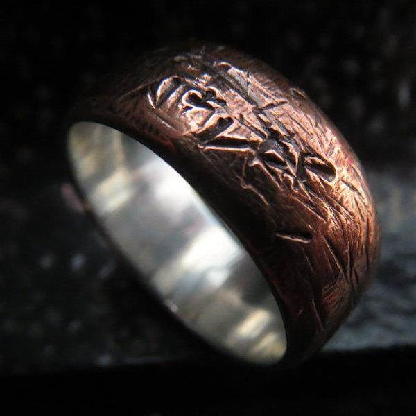Rustic heavily textured Copper and Silver Steampunk wedding ring