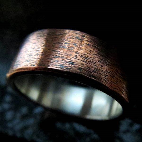 Subtly textured Copper and Silver 8mm men's wedding band