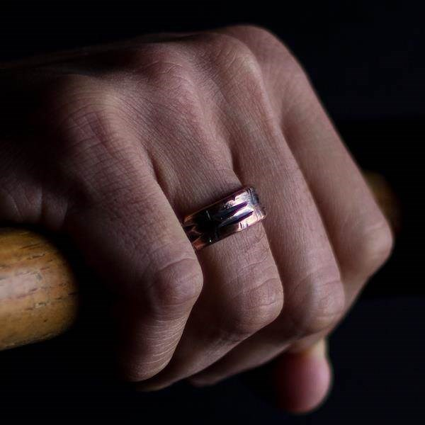 Scored texture SIlver lined Copper ring, perfect for a Steampunk groom