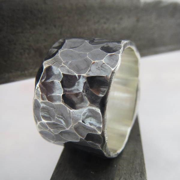 Wide heavily textured oxidised Silver wedding ring