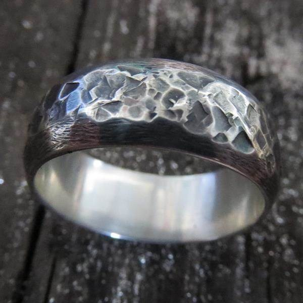 Men's unusual two texture oxidised Sterling Silver domed wedding ring