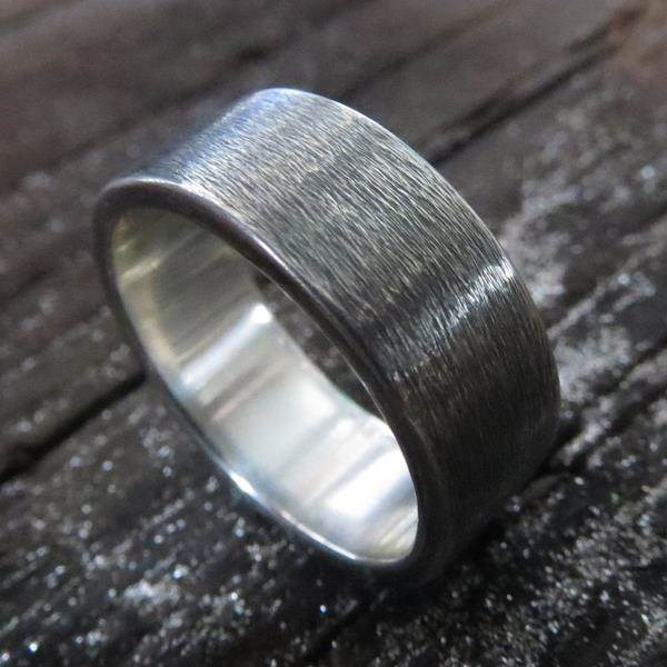 Oxidised Sterling Silver men's alternative wedding ring