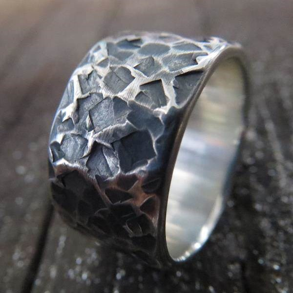 Heavily textured oxidised Sterling Silver Steampunk wedding ring