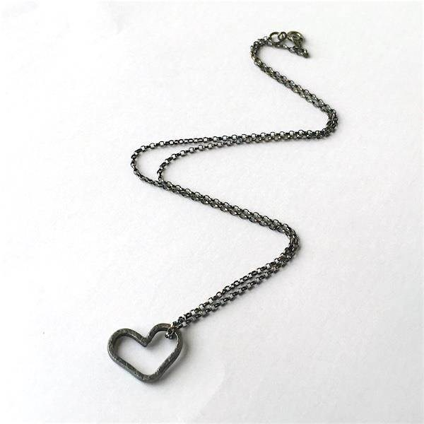 Oxidised Silver black heart bridesmaid's necklace