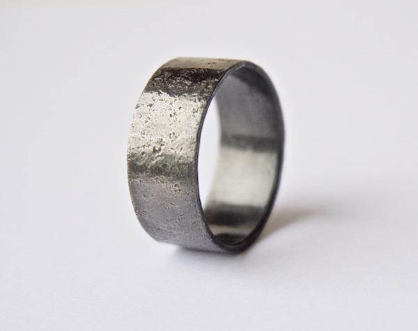 Unisex oxidised distressed Silver ring