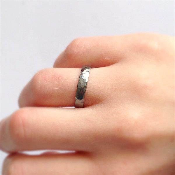 Rustic hammered oxidised Silver ring