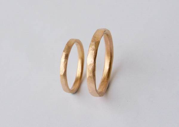 Organic textured rose Gold his and hers wedding rings set