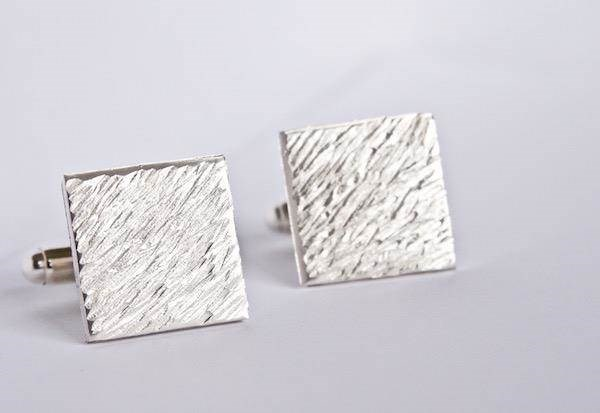 Textured Silver square cufflinks