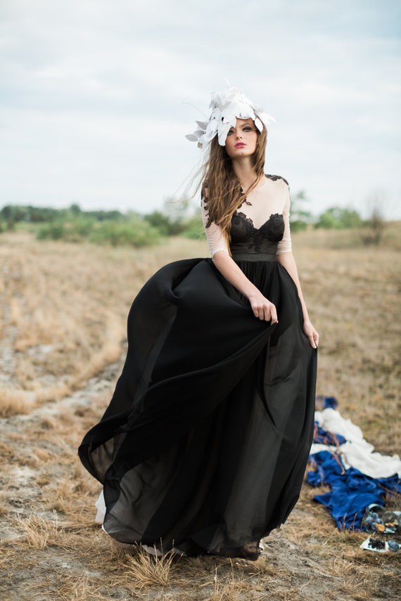 Silk-chiffon black wedding dress from Cathy Telle | Misfit Wedding