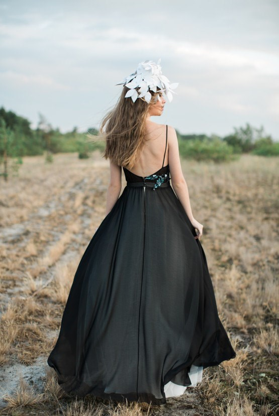 Open back black wedding dress from Cathy Telle | Misfit Wedding