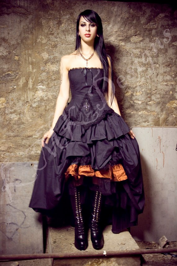 Black and orange Halloween Wedding Dress from KMK Designs | Misfit Wedding