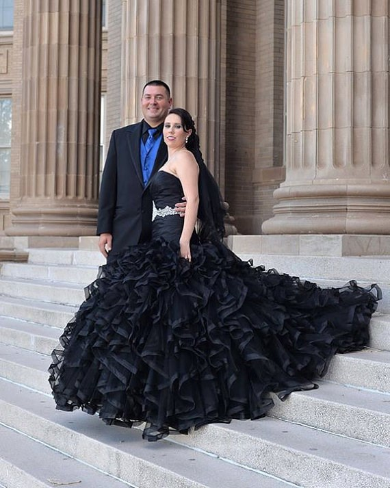 Ruffled black wedding dress from Wedding Dress Fantasy | Misfit Wedding